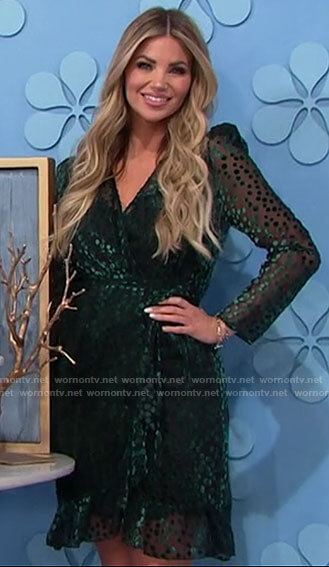 Amber's green polka dot wrap dress on The Price is Right