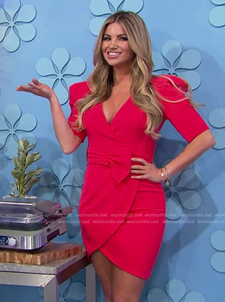 Amber's red mini wrap dress on The Price is Right