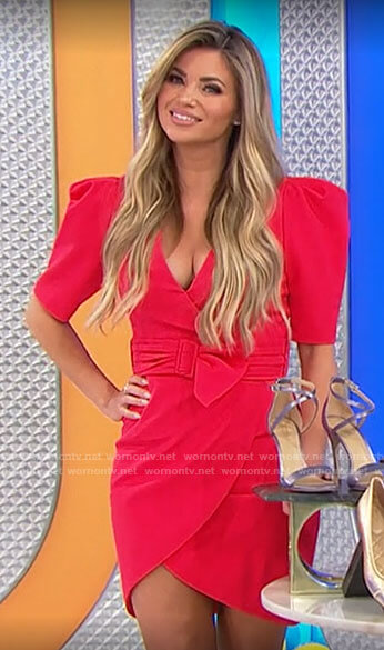 Amber's red mini wrap dress with puff sleeves on The Price is Right