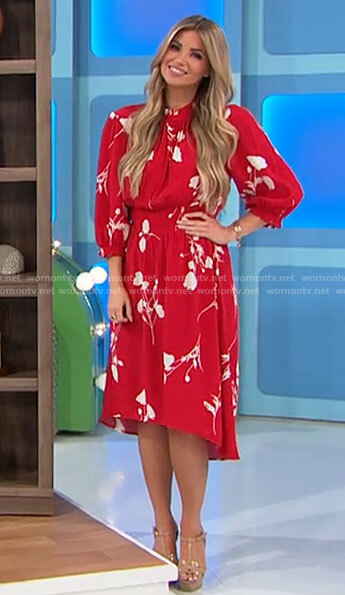 Amber's red and white floral dress on The Price is Right
