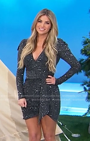 Amber's embellished long sleeve mini dress on The Price is Right