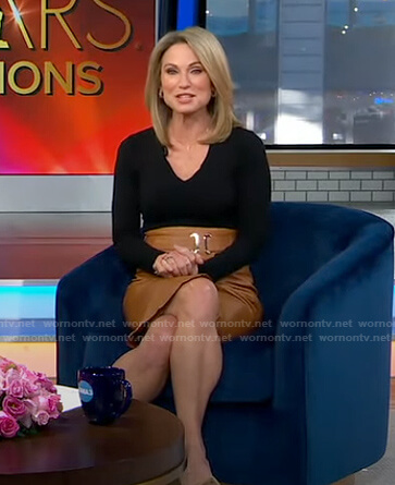 Amy's black top and belted leather skirt on Good Morning America