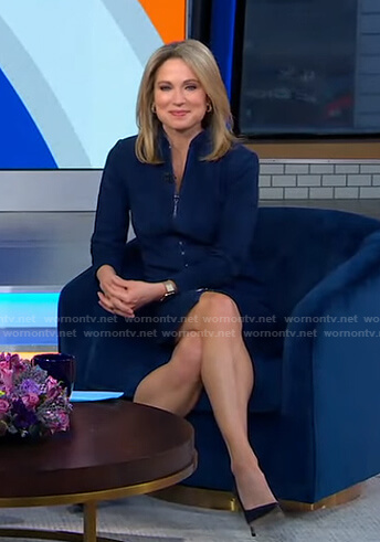 Amy's blue suede zip front dress on Good Morning America