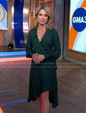 Amy's green asymmetric wrap dress on Good Morning America