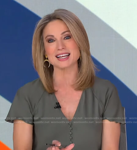Amy's green button front top on Good Morning America