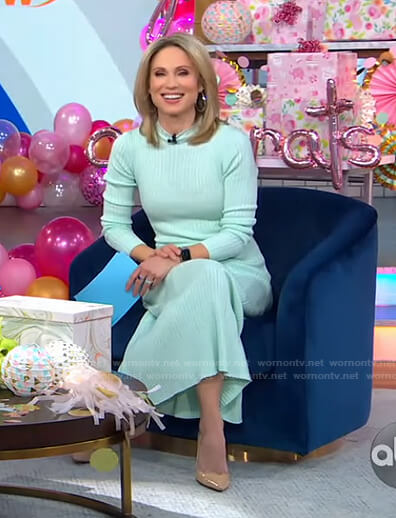 Amy's mint green ribbed midi dress on Good Morning America