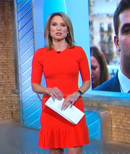 Amy's orange ribbed knit mini dress on Good Morning America