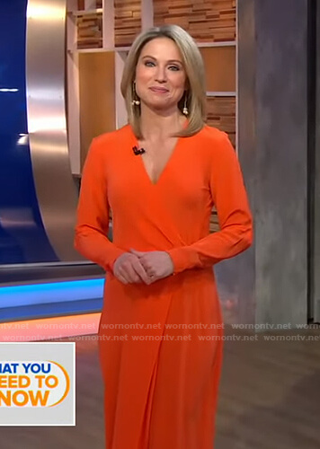 Amy's orange wrap dress on Good Morning America
