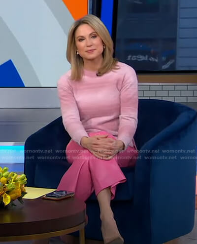 Amy's pink striped sweater and leather pants on Good Morning America