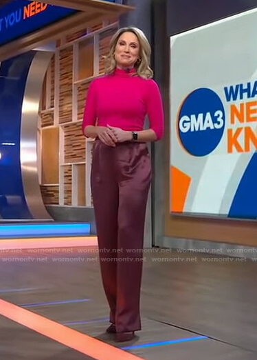 Amy's pink sweater and satin pants on Good Morning America