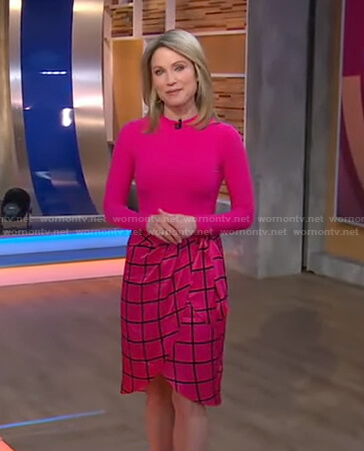 Amy's pink top and windowpane check skirt on Good Morning America