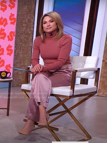 Amy's pink turtleneck sweater and satin pants on Good Morning America