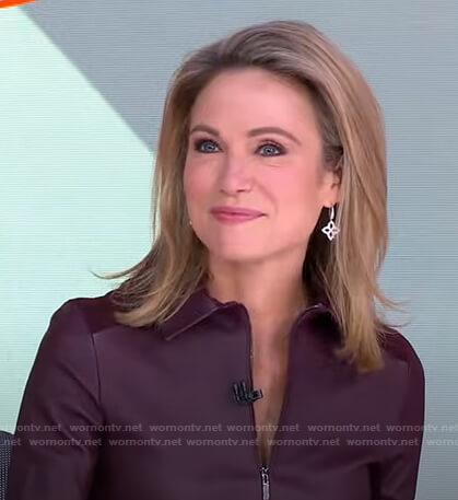 Amy's silver flower drop earrings on Good Morning America