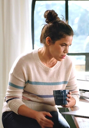Amy's white multi-stripe sweater on Superstore