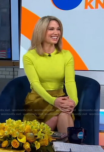 Amy's yellow heart sweater and skirt on Good Morning America