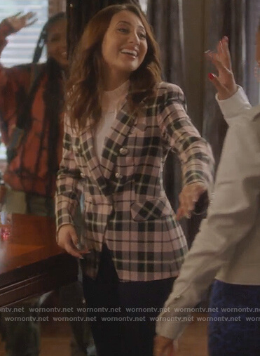 Ana's pink plaid double breasted blazer on Grown-ish