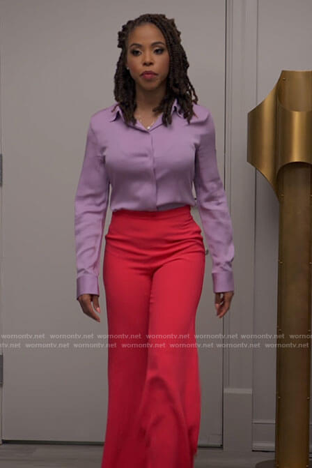 Andi's lilac blouse and pink flare pants on Tyler Perrys Sistas
