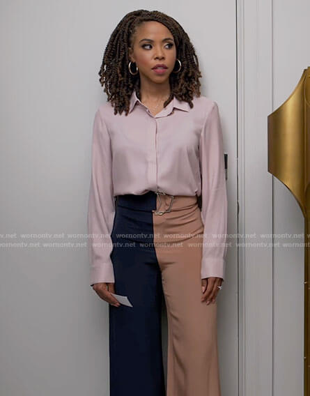 Andi's two tone pants and pink blouse on Tyler Perrys Sistas