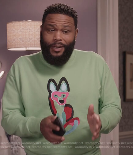 Andre's green fox embroidered sweatshirt on Black-ish