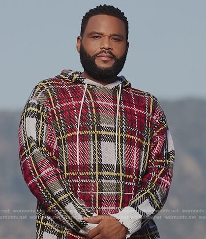Andre's red plaid hoodie on Black-ish