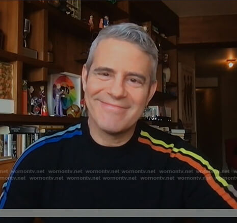 Andy Cohen's black striped sleeve sweater on Today