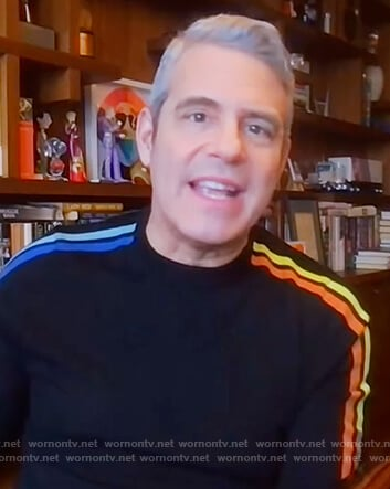 Andy Cohen's navy stripe sleeve sweater on The Kelly Clarkson Show