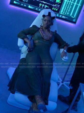 Anissa's green cutout mesh maxi dress on Black Lightning
