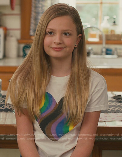 Anna's white heart graphic tee on American Housewife