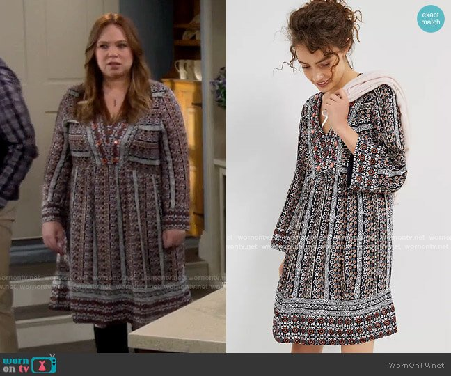 Anthropologie Maeve Naomi Embroidered Tunic Dress worn by Vanessa Baxter (Nancy Travis) on Last Man Standing
