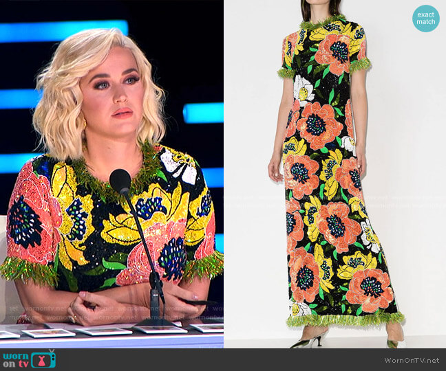 Floral-Motif Sequin-Embellished Gown by Ashish worn by Katy Perry  on American Idol