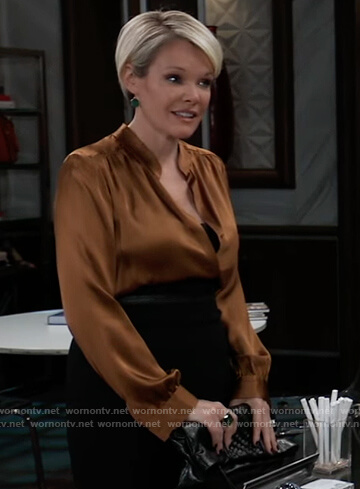 Ava's brown satin blouse on General Hospital