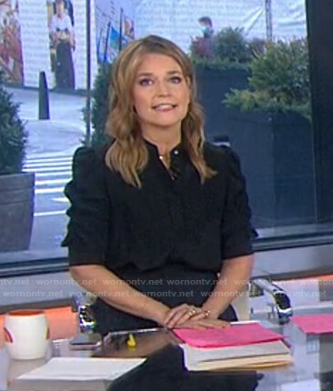 Savannah's black puff sleeve blouse on Today