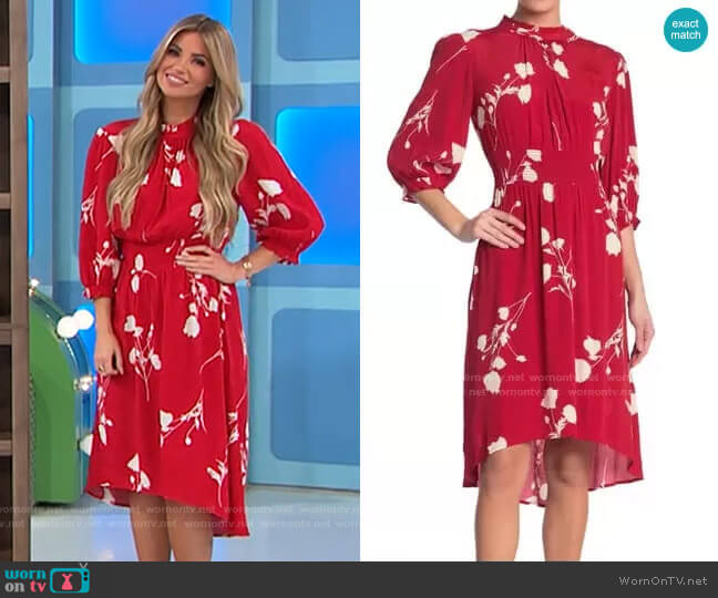 ba&sh Poem Printed Dress worn by Amber Lancaster  on The Price is Right