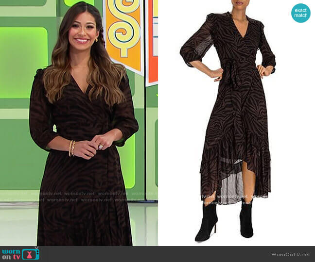 ba&sh Selena Zebra-Stripe Wrap Dress worn by Manuela Arbeláez  on The Price is Right