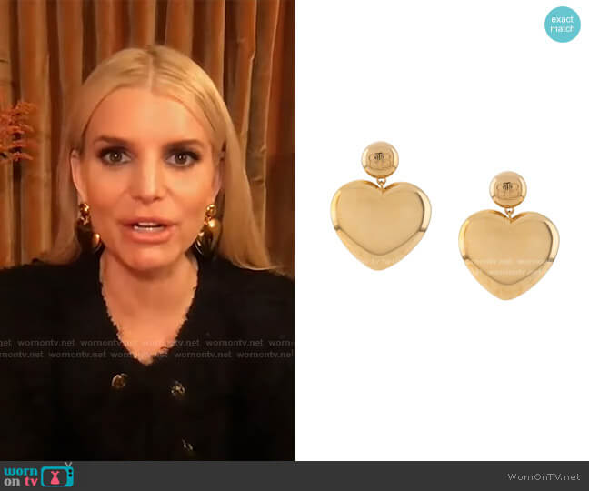 BB Heart Earrings by Balenciaga worn by Jessica Simpson on Tamron Hall Show