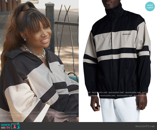 Striped Zip-up Jacket by Balenciaga worn by Marlo Hampson on The Real Housewives of Atlanta