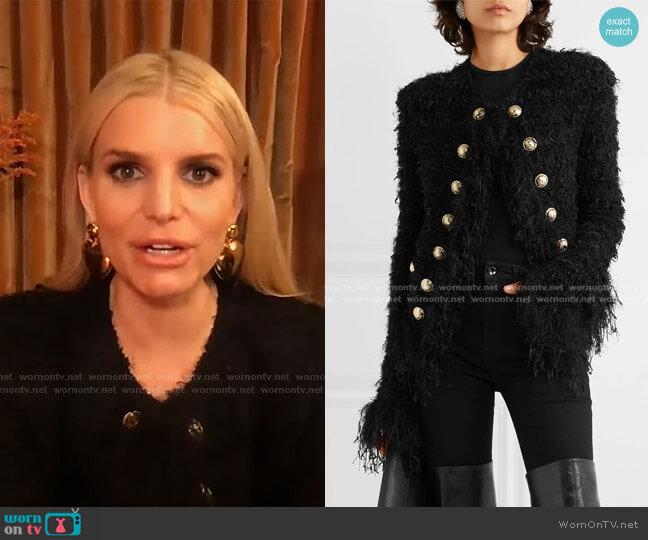 Fringed Tweed Blazer by Balmain worn by Jessica Simpson on Tamron Hall Show