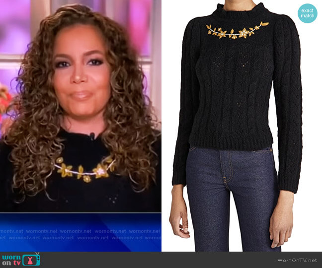 Embroidered Alpaca Knit Pullover by Batsheva worn by Sunny Hostin  on The View