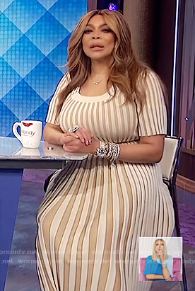 Wendy's beige ribbed scoop neck dress on The Wendy Williams Show