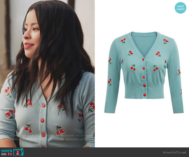 Cherryies Embroidery Cropped Cardigan by Belle Poque worn by Mariana Foster (Cierra Ramirez) on Good Trouble