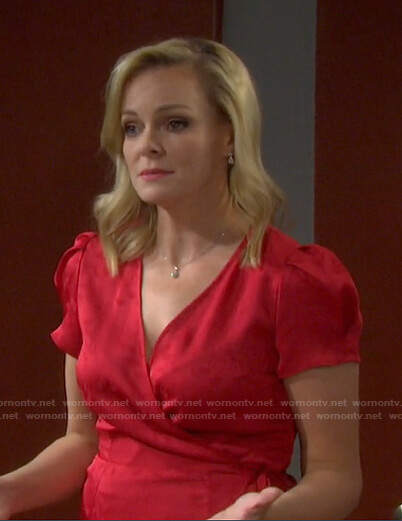 Belle's red floral wrap dress on Days of our Lives