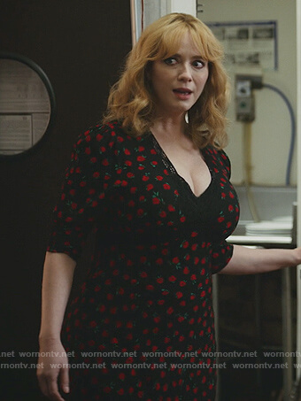 Beth's black floral print midi dress on Good Girls