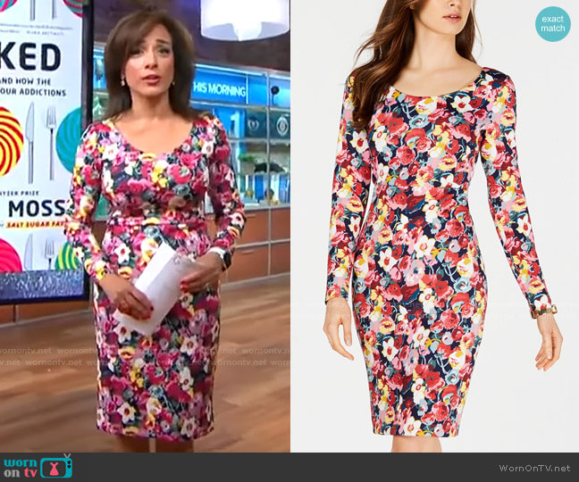 Betsey Johnson Floral-Print Long-Sleeve Sheath Dress worn by Michelle Miller  on CBS This Morning