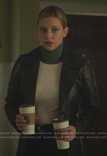 Betty's colorblock ribbed turtleneck sweater on Riverdale