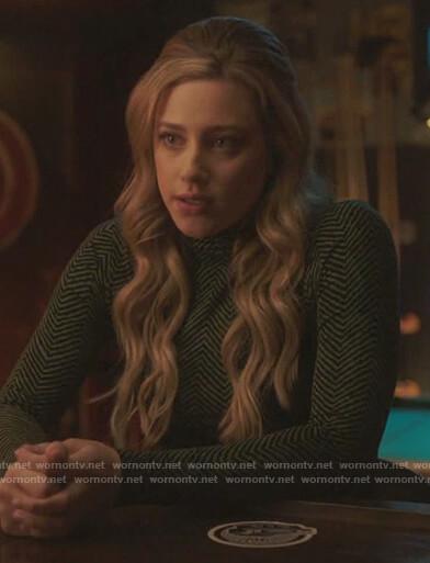 Betty's green chevron turtleneck top on Riverdale