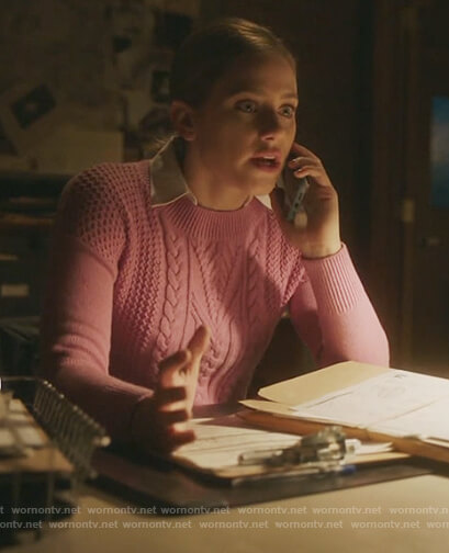Betty's pink cable knit sweater on Riverdale