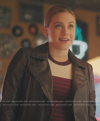 Betty's burgundy stripe sweater and black leather jacket on Riverdale