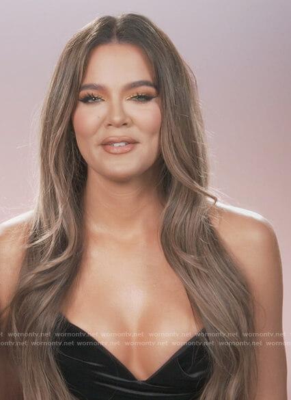 Khloe's black velvet corset top on Keeping Up with the Kardashians