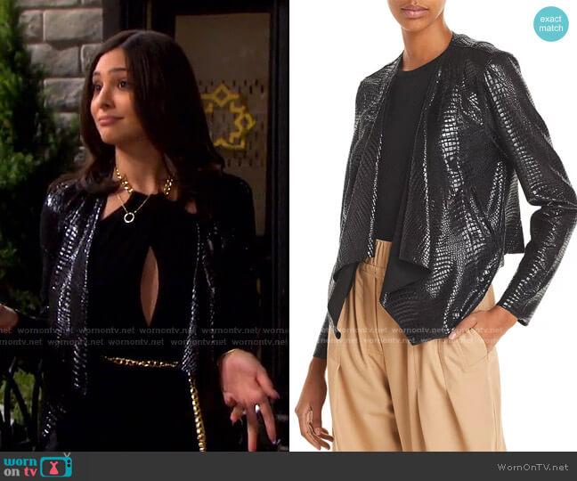 Croc-Pattern Draped Jacket by BlankNYC worn by Gabi Hernandez (Camila Banus) on Days of our Lives