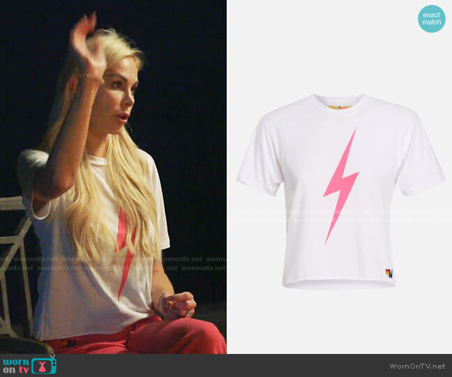 Bolt Crop Tee by Aviator Nation worn by Kameron Westcott  on The Real Housewives of Dallas